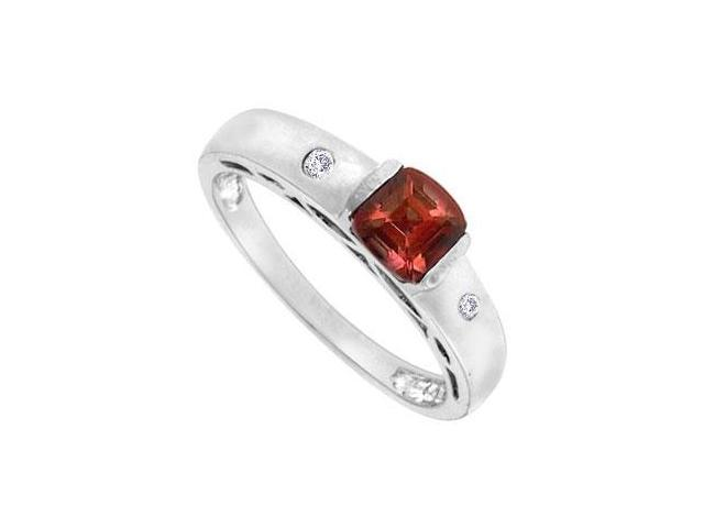 Garnet and Diamond Ring  14K White Gold - 1.00 CT TGW