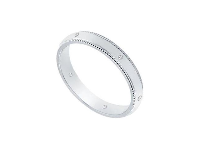 3MM Comfort Fit Milgrain Wedding Band with Diamonds  Platinum - 0.05 CT TDW