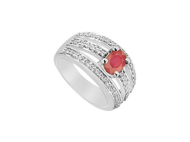 Ruby and Diamond Ring  14K White Gold - 1.50 CT TGW
