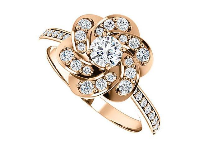 April Birthstone Diamond Floral Ring in 14K Rose Gold 0.75 CT TDW