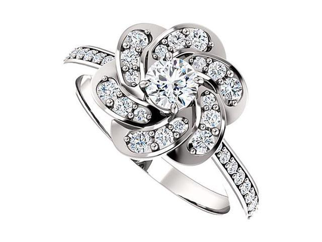 April Birthstone Diamond Floral Ring in 14K White Gold 0.75 CT TDW