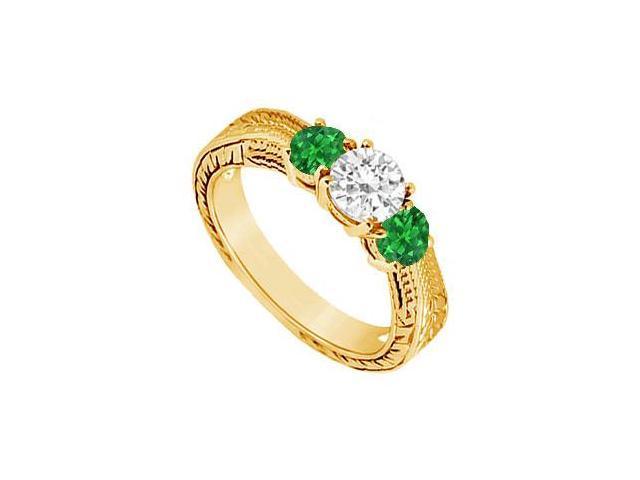 Three Stone Emerald and Diamond Ring  14K Yellow Gold - 0.33 CT TGW