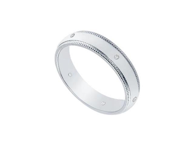 4MM Comfort Fit Milgrain Wedding Band with Diamonds  Platinum - 0.05 CT TDW