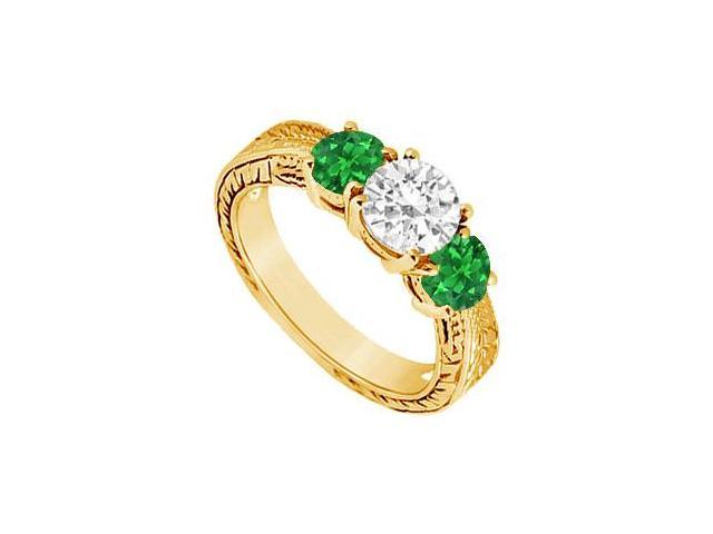 Three Stone Emerald and Diamond Ring  14K Yellow Gold - 1.00 CT TGW