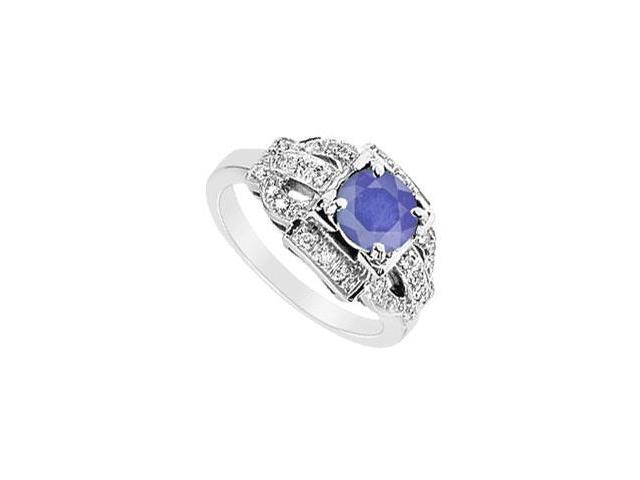 Sapphire and Diamond Ring  14K White Gold - 1.25 CT TGW