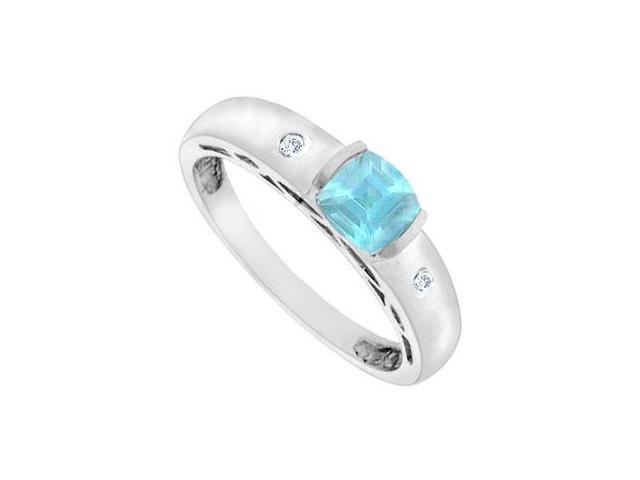 Aquamarine and Diamond Ring  14K White Gold - 0.66 CT TGW