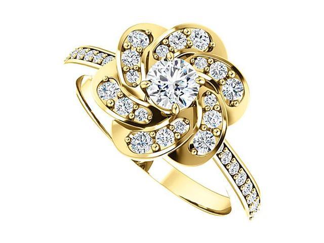 April Birthstone Diamond Floral Ring in 14K Yellow Gold 0.75 CT TDW