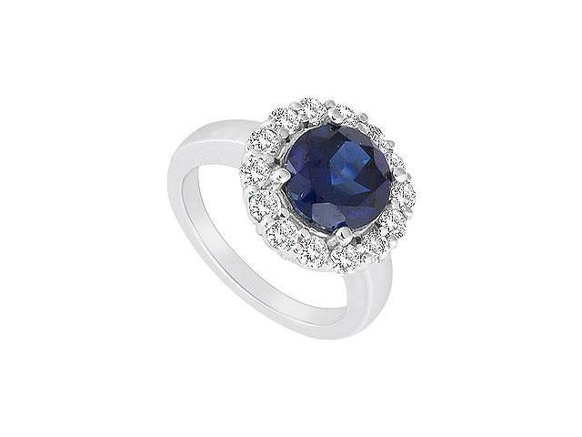 Diffuse Sapphire and Cubic Zirconia Ring 10K White Gold 2.50 Carat Total Gem Weight