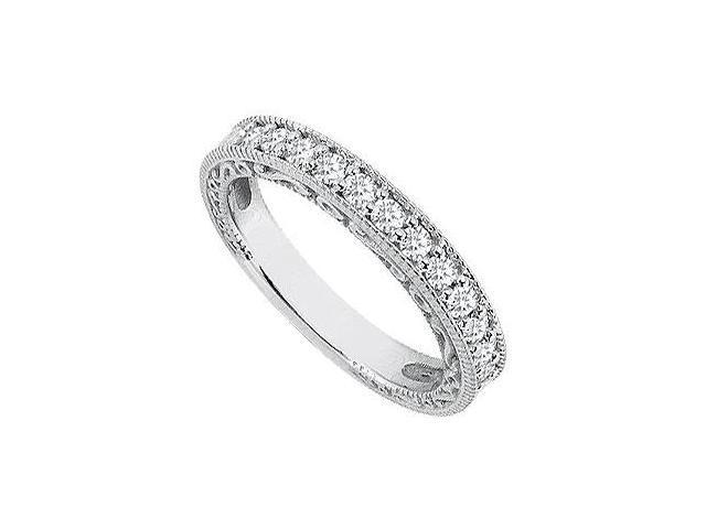 Diamond Wedding Rings in 14K White Gold Milgrain of 0.35 Carat Diamonds