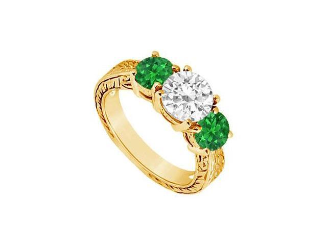Three Stone Emerald and Diamond Ring  14K Yellow Gold - 1.50 CT TGW
