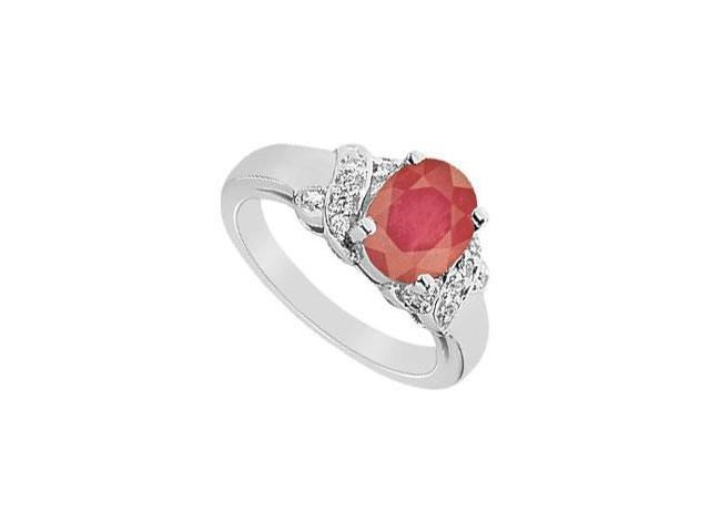 Ruby and Diamond Ring  14K White Gold - 2.25 CT TGW