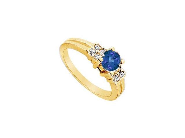 Sapphire and Diamond Ring  14K Yellow Gold - 0.75 CT TGW