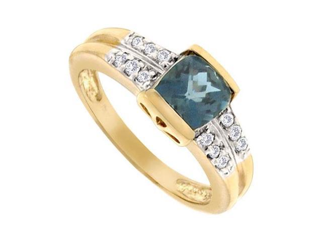 Blue Topaz and Diamond Ring  14K Yellow Gold - 1.50 CT TGW