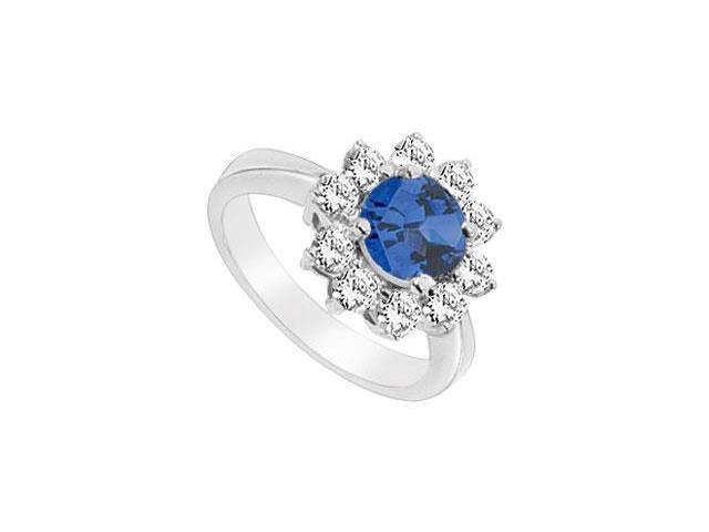 Diffuse Sapphire and Cubic Zirconia Ring 10K White Gold 1.25 Carat Total Gem Weight