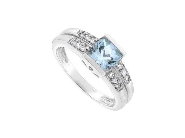 Aquamarine and Diamond Ring  14K White Gold - 1.25 CT TGW