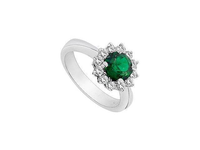 Frosted Emerald and Cubic Zirconia Ring 10K White Gold 1.50 Carat Total Gem Weight