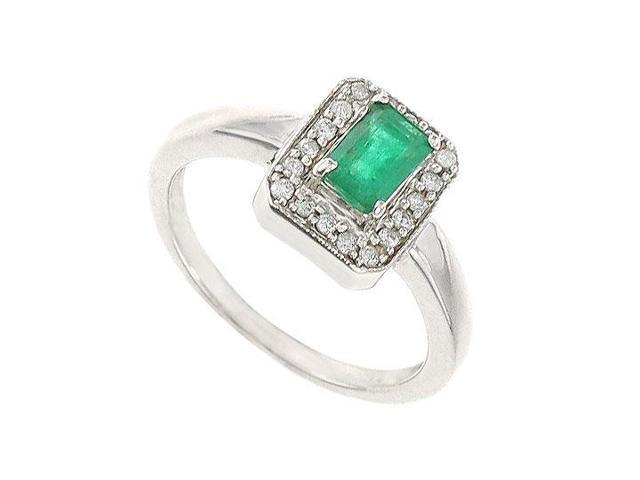 Emerald and Diamond  14K White Gold - 1.00 CT TGW