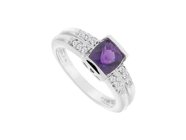 Amethyst and Diamond Ring  14K White Gold - 1.33 CT TGW
