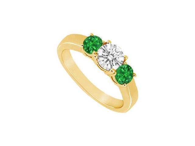 Three Stone Emerald and Diamond Ring  14K Yellow Gold - 0.33 CT TGW