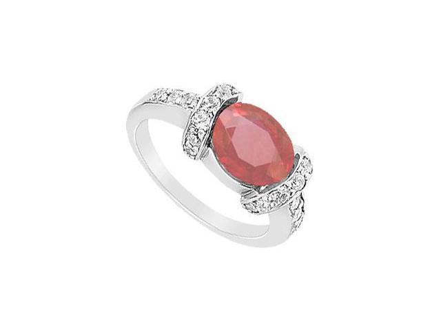 Ruby and Diamond Ring  14K White Gold - 3.50 CT TGW