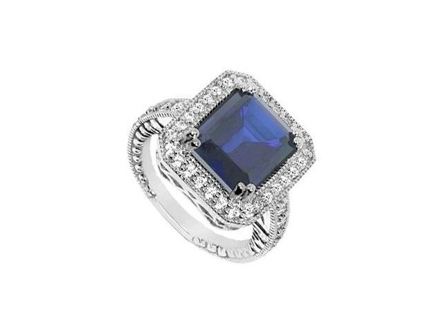 Diffuse Sapphire and Cubic Zirconia Ring 10K White Gold 11.00 Carat Total Gem Weight