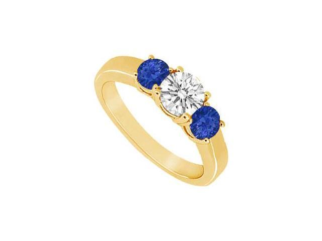 Three Stone Sapphire and Diamond Ring  14K Yellow Gold - 0.33 CT TGW