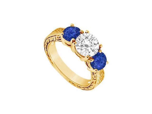Three Stone Sapphire and Diamond Ring  14K Yellow Gold - 1.50 CT TGW
