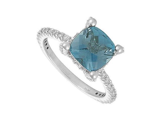 Blue Topaz and Diamond Ring  14K White Gold - 2.50 CT TGW