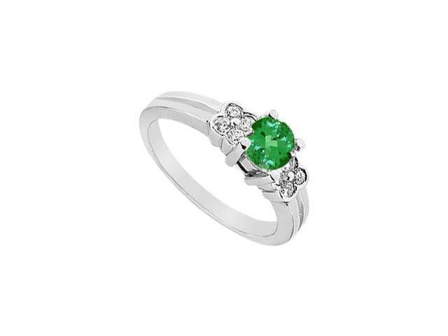 Emerald and Diamond Ring  14K White Gold - 0.75 CT TGW