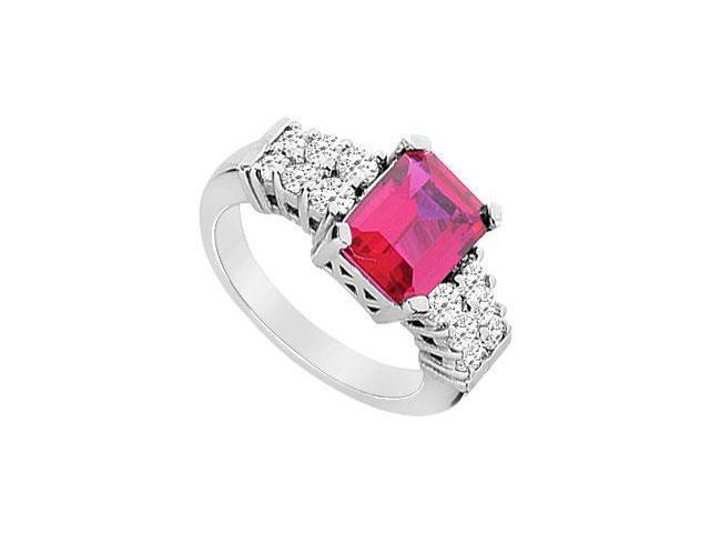 GF Bangkok Ruby and Cubic Zirconia Ring  10K White Gold - 3.25 CT TGW