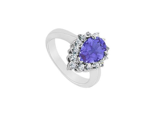 Sapphire and Diamond Ring  14K White Gold - 1.50 CT TGW