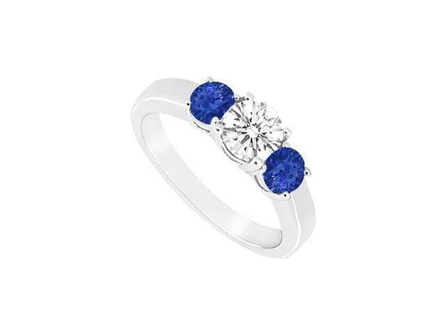 Three Stone Sapphire and Diamond Ring  14K White Gold - 0.33 CT TGW