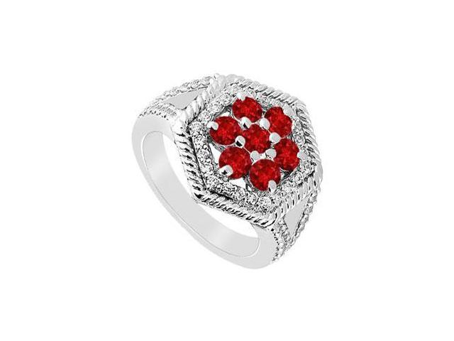 Ruby and Diamond Flower Ring  14K White Gold - 1.50 CT TGW