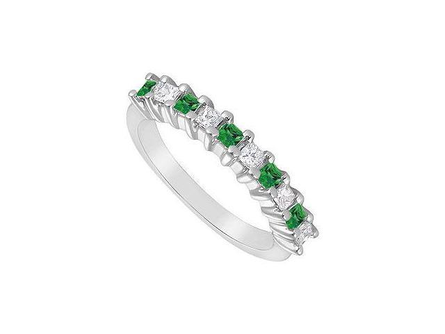 Emerald and Diamond Ring  14K White Gold - 0.50 CT TGW
