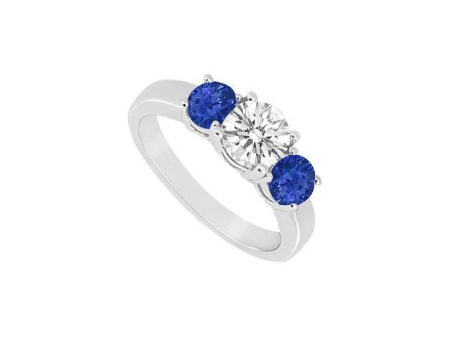 Three Stone Sapphire and Diamond Ring  14K White Gold - 1.00 CT TGW