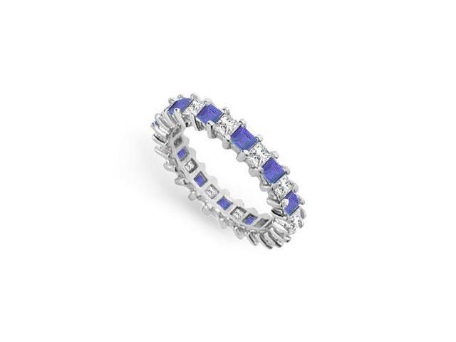 Diamond and Blue Sapphire Eternity Band  14K White Gold  3.00 CT TGW