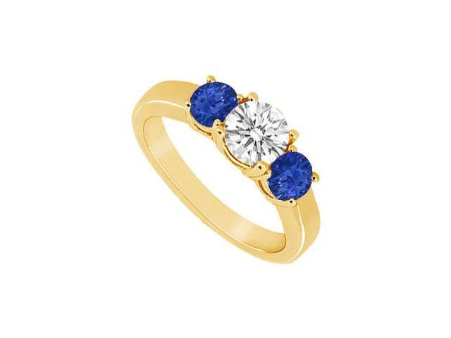 Three Stone Sapphire and Diamond Ring  14K Yellow Gold - 0.50 CT TGW