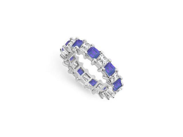 Diamond and Blue Sapphire Eternity Band  14K White Gold  4.00 CT TGW