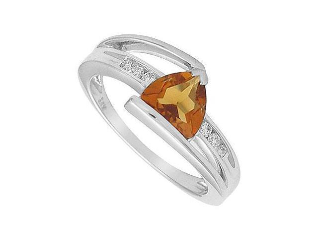Citrine and Diamond Ring  14K White Gold - 1.25 CT TGW