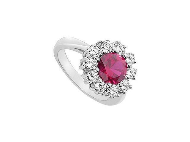 GF Bangkok Ruby and Cubic Zirconia Ring 10K White Gold  3.00 Carat Total Gem Weight