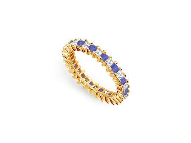 Diamond and Blue Sapphire Eternity Band  14K Yellow Gold  2.00 CT TGW