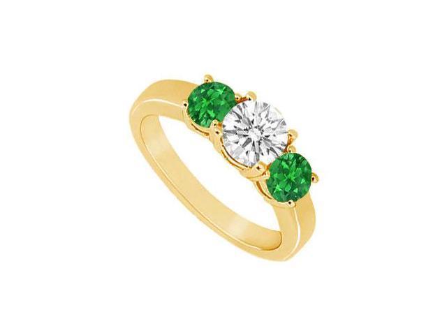 Three Stone Emerald and Diamond Ring  14K Yellow Gold - 0.75 CT TGW