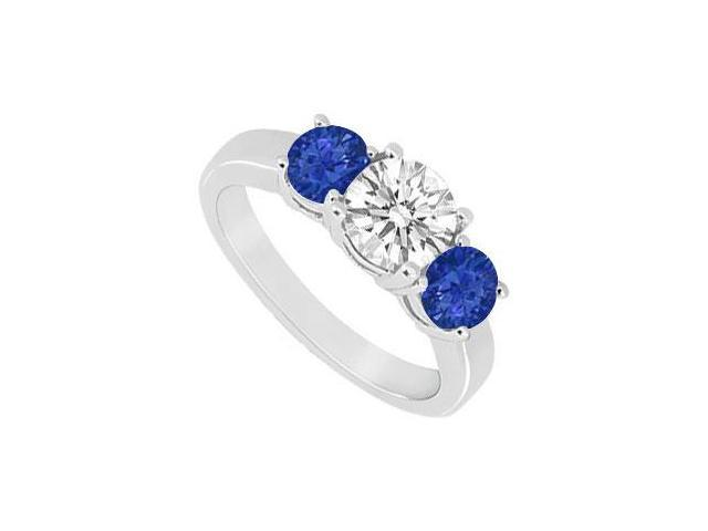 Three Stone Sapphire and Diamond Ring  14K White Gold - 1.25 CT TGW