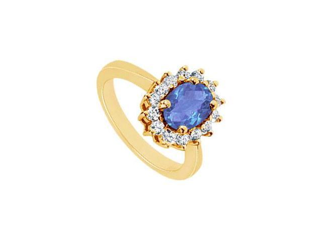 Sapphire and Diamond Ring  14K Yellow Gold - 1.50 CT TGW
