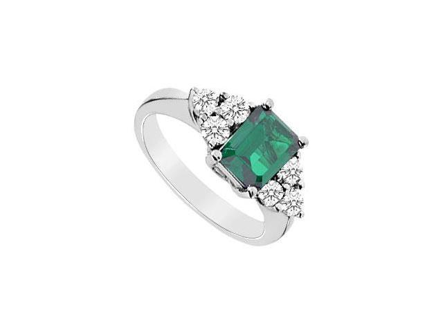 Frosted Emerald and Cubic Zirconia Ring 10K White Gold 3.25 Carat Total Gem Weight