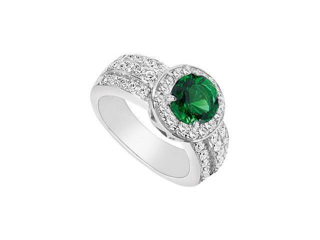 Frosted Emerald and Cubic Zirconia Ring 10K White Gold 3.50 Carat Total Gem Weight