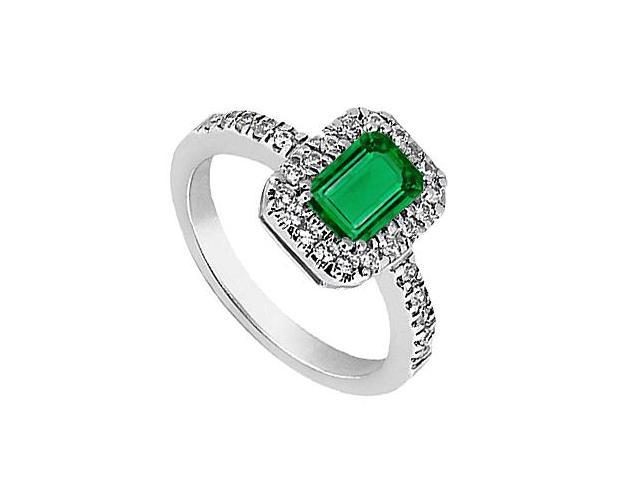Simulated Green Emerald Ring with CZ in 14K White Gold 2.30 Carat Total Gem Weight