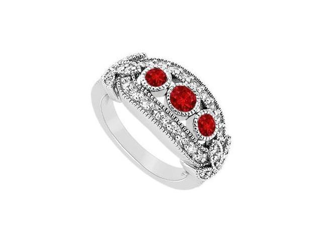 Ruby and Diamond Ring  14K White Gold - 1.00 CT TGW