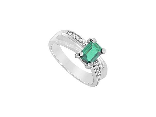 Frosted Emerald and Cubic Zirconia Ring 10K White Gold 1.75 Carat Total Gem Weight