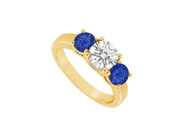 Three Stone Sapphire and Diamond Ring  14K Yellow Gold - 1.25 CT TGW